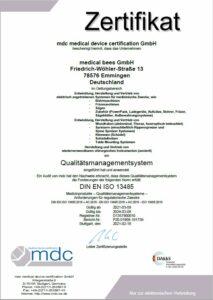 Medical bees Zertifikat
