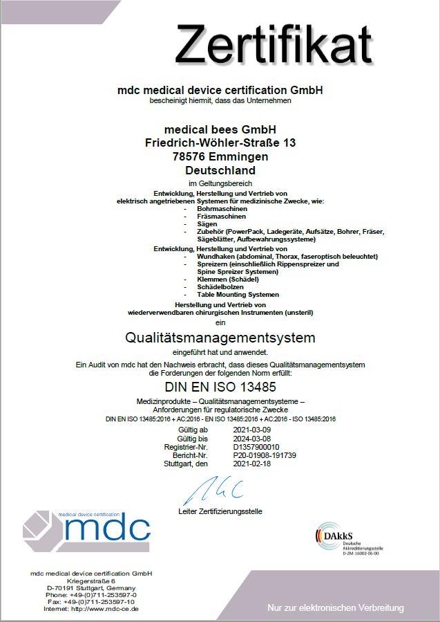 Medical bees Zertifikate